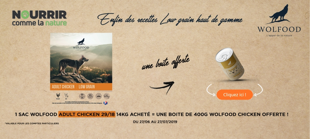 Wolfood ADULT CHICKEN + 1 boite offerte